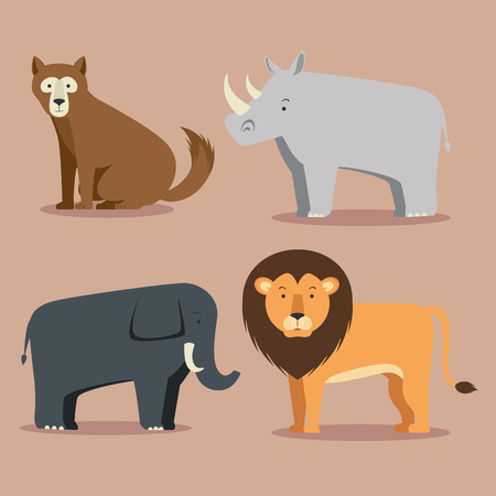set of wild animal cartoon vector illustration graphic design