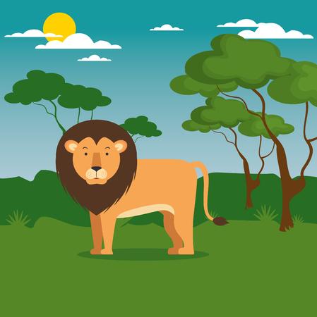 야생 동물 만화 벡터 일러스트 그래픽 디자인