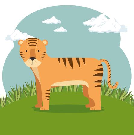 野生動物漫画イラスト。  イラスト・ベクター素材