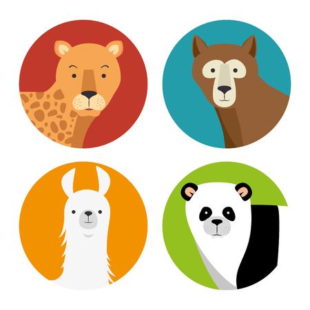 Set of wild animal cartoon illustration. Illustration