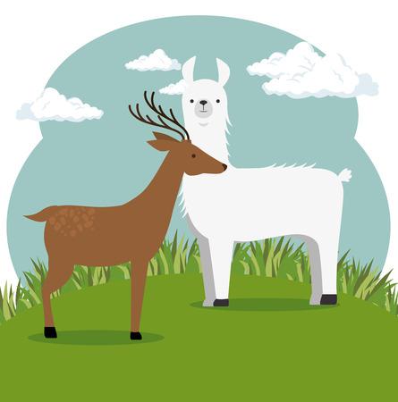 Wilde dieren cartoon illustratie.