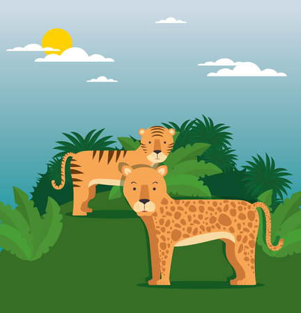 Wild animal cartoon illustration. Illustration