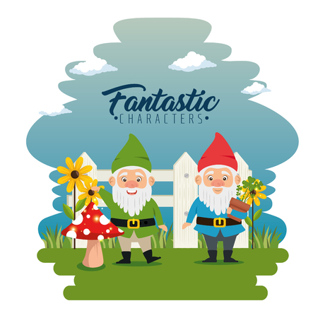 couple of fantastic character cute dwarf vector illustration graphic design Ilustracja