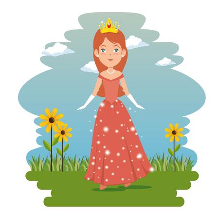 fantastic character fairytale princess cartoon vector illustration graphic design
