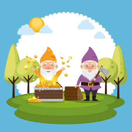 couple of fantastic character cute dwarf vector illustration graphic design Stock Vector - 90230803