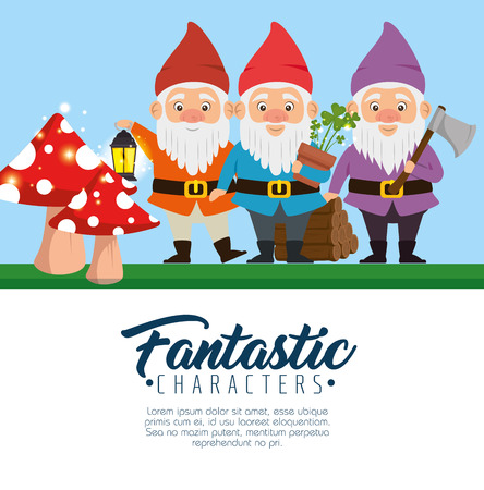 group of fantastic character cute dwarfs vector illustration graphic design Çizim