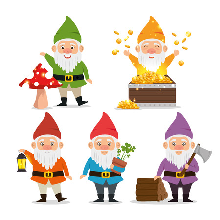 set of fantastic character cute dwarfs vector illustration graphic design