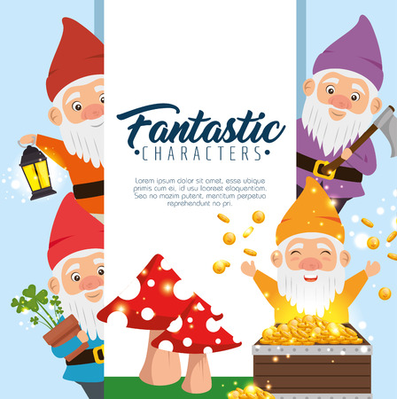 group of fantastic character cute dwarfs vector illustration graphic design Ilustrace