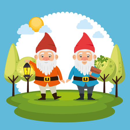 couple of fantastic character cute dwarf vector illustration graphic design Stock Illustratie