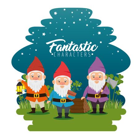 group of fantastic character cute dwarfs vector illustration graphic design Illustration