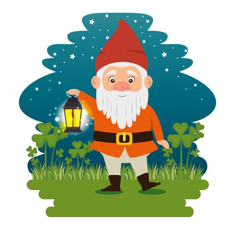 fantastic character cute dwarf vector illustration graphic design Vettoriali