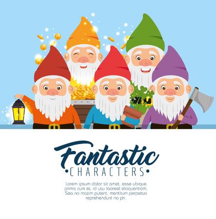 ファンタスティックなキャラクターかわいい小人ベクトル イラスト グラフィック デザインのグループ