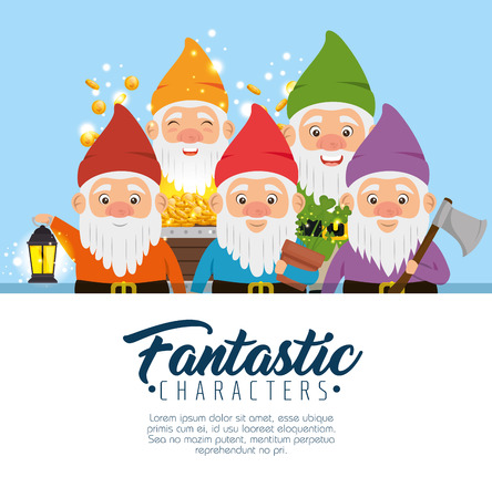 group of fantastic character cute dwarfs vector illustration graphic design Illustration