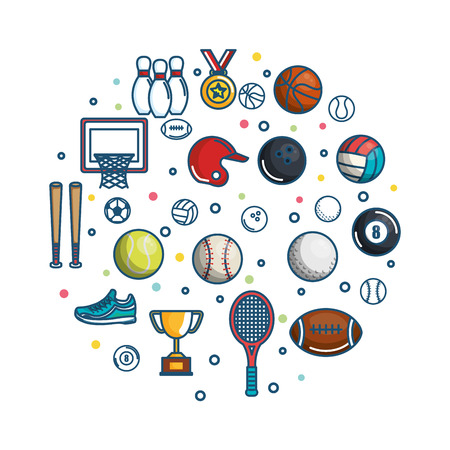 Colorful sports related objects over white background vector illustration Illustration