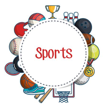 흰색 배경 벡터 일러스트 레이 션 위에 화려한 관련 개체로 둘러싸인 스포츠 스티커