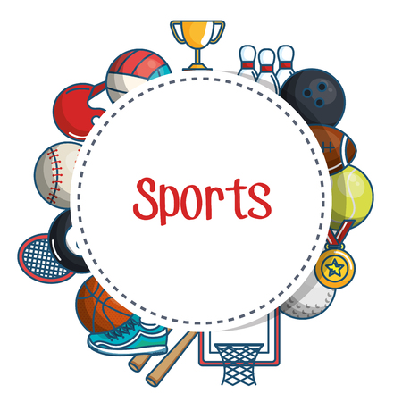 Sports sticker surrounded by colorful related objects over white background vector illustration