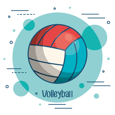 Colorful volleyball icon over teal and white background vector illustration Çizim