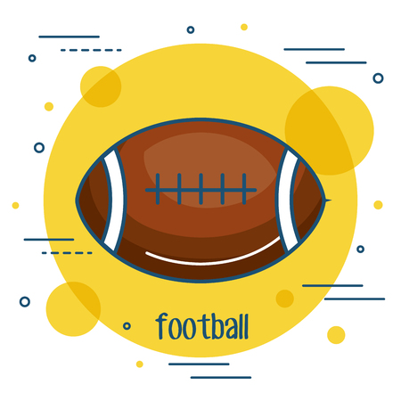 Colorful football icon over yellow and white background vector illustration