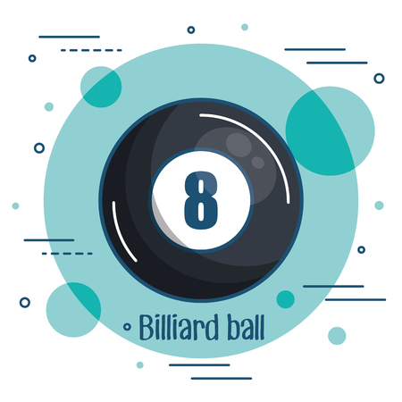 Colorful billiard ball icon over teal and white background vector illustration