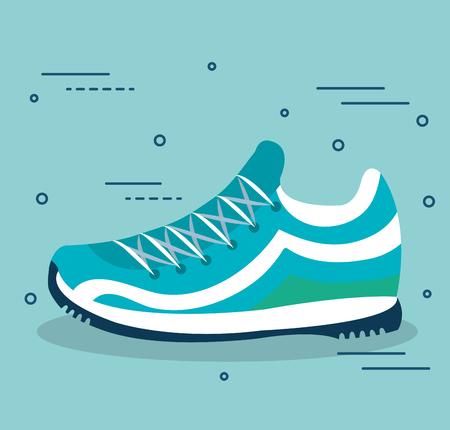 Blauwe tennisschoenen over lichtblauwe vectorillustratie als achtergrond