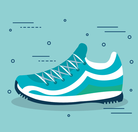Blue sneakers over light blue background vector illustration