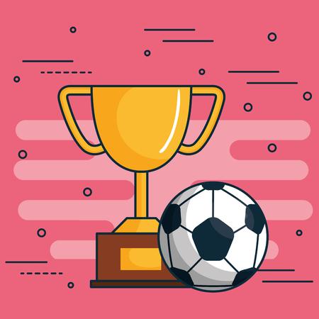 Golden trophy and soccer ball over pink background vector illustration