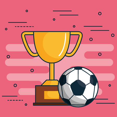 Golden trophy and soccer ball over pink background vector illustration