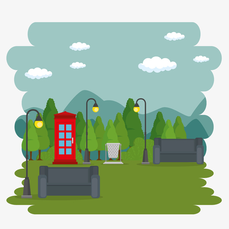 Public park in the city vector illustration graphic design Illustration