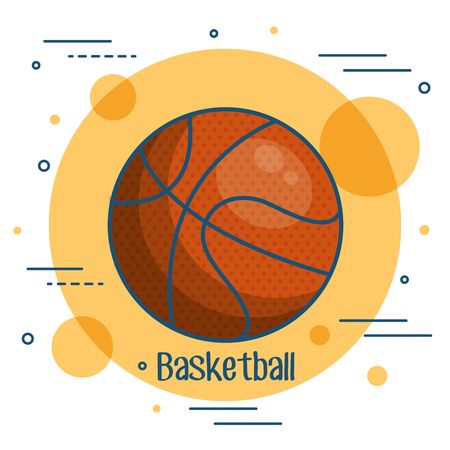 Colorful basketball icon over orange and white background vector illustration