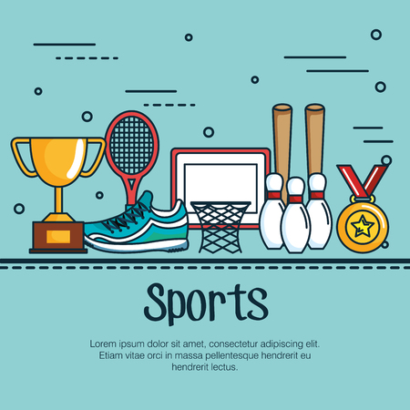 Sports infographic and related objects over blue background vector illustration