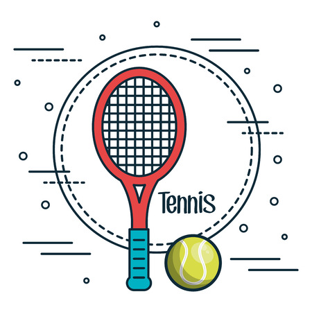 Tennis racket and ball sticker over white background vector illustration