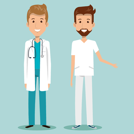 Male health professional over blue background vector illustration