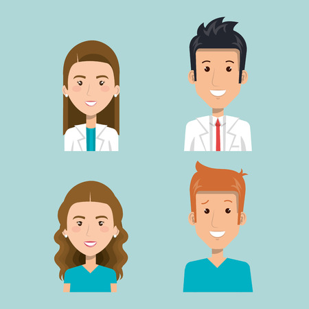 Set of health professionals over blue background vector illustration