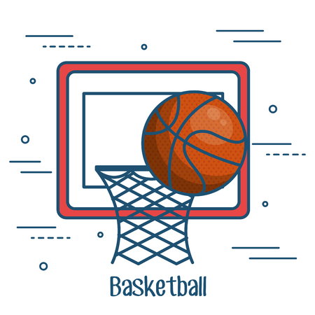 Basketball board and ball over white background vector illustration