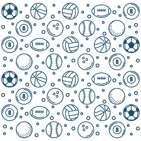 Hand getrokken sportballen over witte achtergrondpatroon vectorillustratie