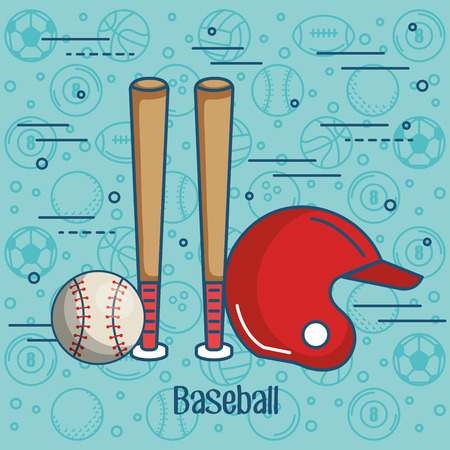 Honkbal gerelateerde objecten op blauwe achtergrond met hand getrokken sportbal