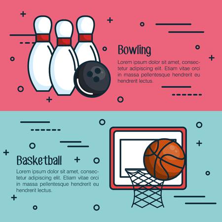 분홍색과 파란색 배경 위에 관련 개체와 볼링 및 농구 infographics 일러스트