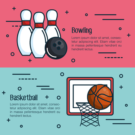 Bowling and basketball infographics with related objects over pink and blue background Illustration
