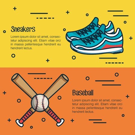 Sneakers and baseball infographics over yellow and orange background vector illustration