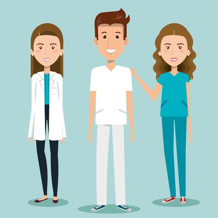 Women and man health professionals over blue background vector illustration Ilustração