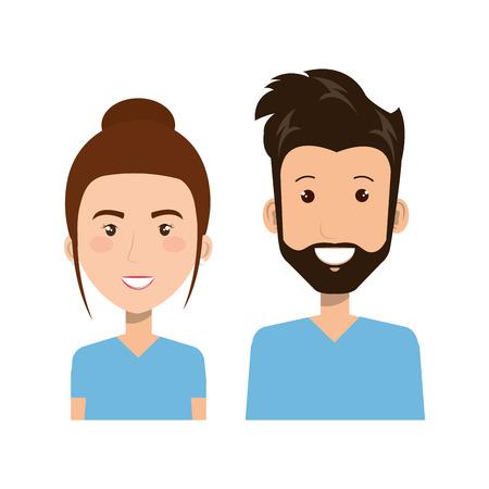 青い背景のベクトル図をプロ女と男の健康