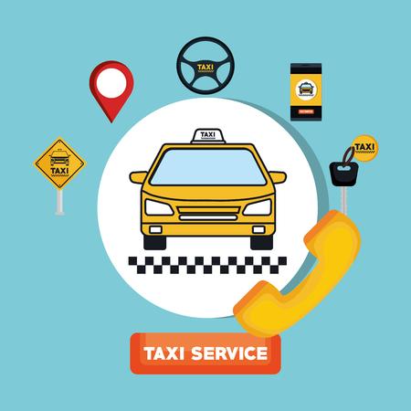 Taxi service telephone transport public app vector illustration Illustration