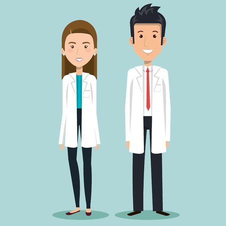 Brunette woman and man doctors over blue background vector illsutration Illustration