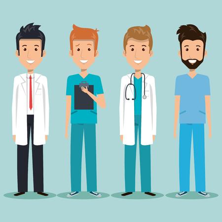 青い背景ベクトルイラストの上に男性の医療専門家
