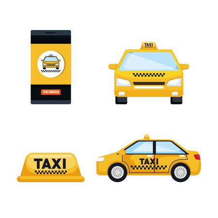 taxi service set vervoer bestellen internet elementen vector illustratie
