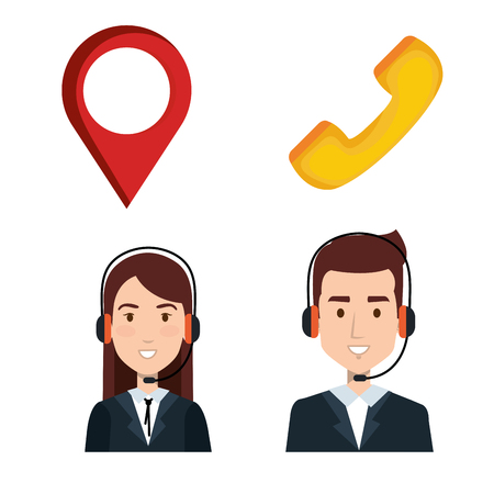 taxi service call center operator set order elements vector illustration Ilustração