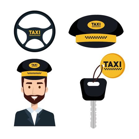 택시 서비스 전송 순서 인터넷 요소 벡터 일러스트 레이션 설정