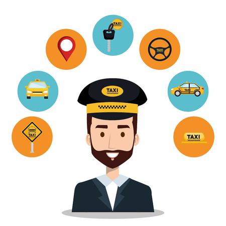 driver taxi service app cartoon icons vector illustration