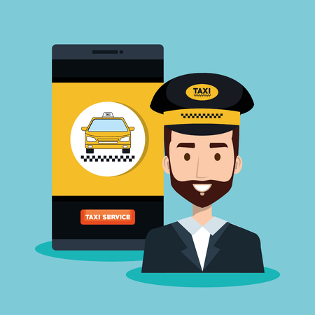 call center driver taxi service app cartoon vector illustration Ilustrace