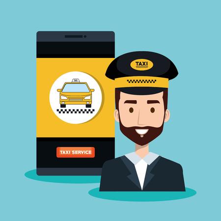 call center driver taxi service app cartoon vector illustration Illustration